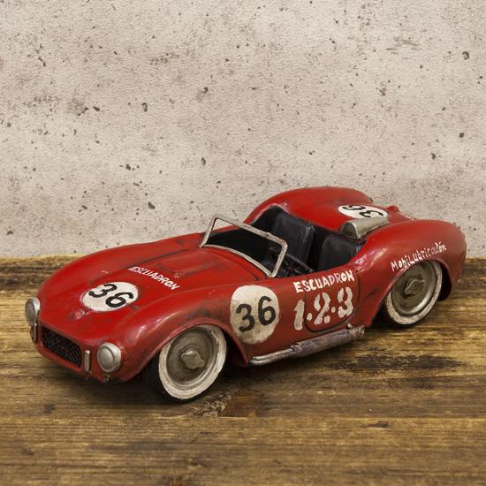 レーシングカーレッド36 ブリキ製自動車 ブリキのおもちゃ アメリカン雑貨の画像