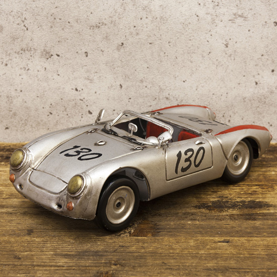 レーシングカーシルバー130 ブリキ製自動車 ブリキのおもちゃ アメリカン雑貨の画像