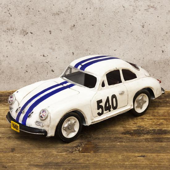 レーシングカーホワイト540  ブリキ製自動車 ブリキのおもちゃ アメリカン雑貨の画像