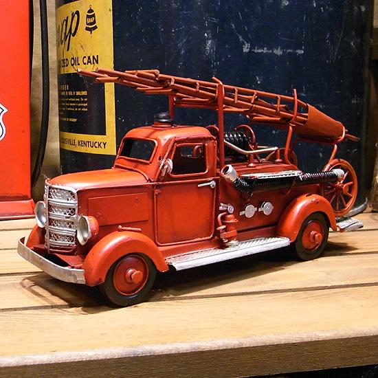 はしご車 消防車 ブリキ製自動車 ブリキのおもちゃ アメリカン雑貨の画像