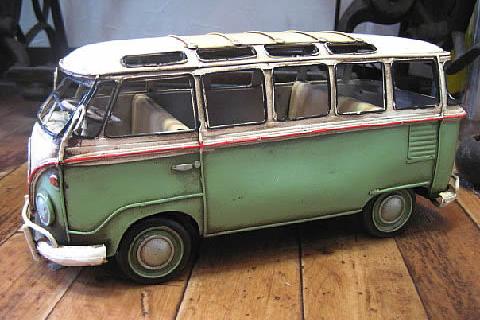 ワーゲンバス【グリーン】 ブリキ製自動車 ブリキのおもちゃ アメリカン雑貨の画像