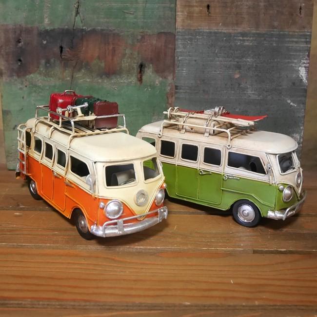 ワーゲンバス ノスタルディック ブリキ製自動車 ブリキのおもちゃ アメリカン雑貨の画像