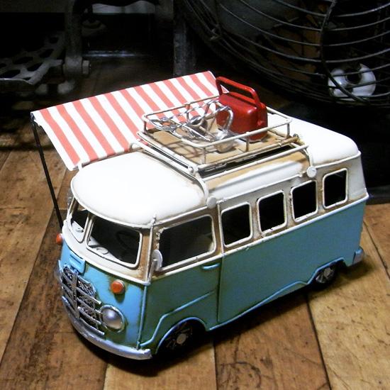 ワーゲンバス【サイドタープ付き】 ブリキ製自動車 ブリキのおもちゃ アメリカン雑貨の画像