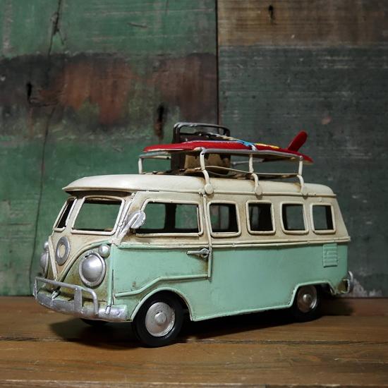 ブリキのおもちゃ ワーゲンバス ノスタルジックデコ  インテリア バスアメリカン雑貨の画像