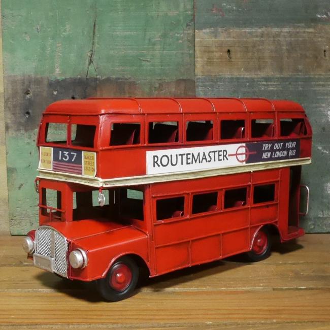 ロンドンバス ブリキ製自動車 ブリキのおもちゃ アメリカン雑貨の画像