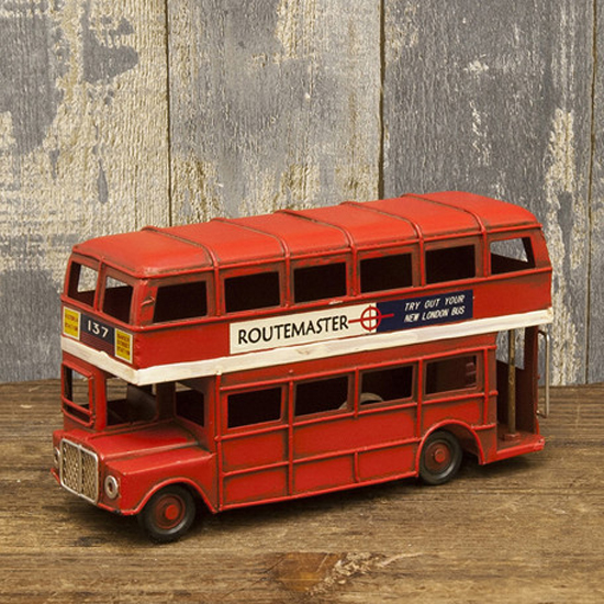 ミニ ロンドンバス ダブルデッカー バス  ブリキ製自動車 ブリキのおもちゃ アメリカン雑貨の画像
