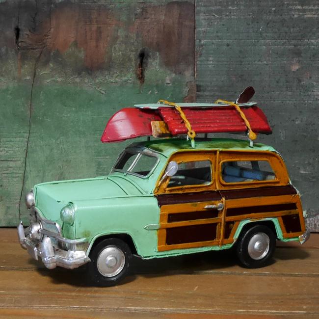 ウッディーワゴン ノスタルジックデコ 【ライトブルー】  ブリキ製自動車 ブリキのおもちゃ アメリカン雑貨の画像