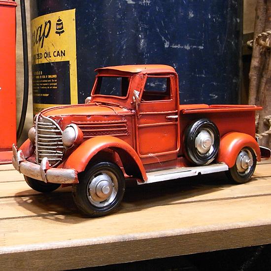 ピックアップトラック 【レッド】  ブリキ製自動車 ブリキのおもちゃ アメリカン雑貨の画像
