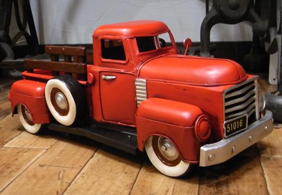 ピックアップトラック【レッド】 ブリキ製自動車 ブリキのおもちゃ アメリカン雑貨の画像