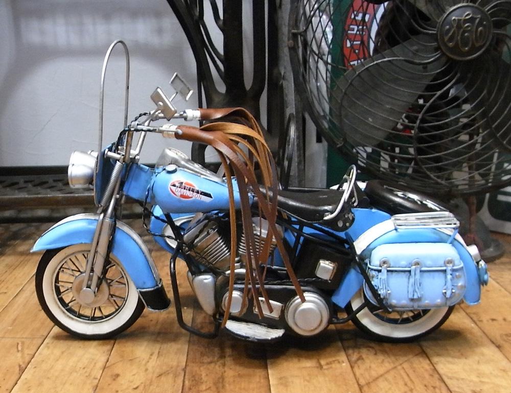 サイドカーB 【ブルー】 ブリキのおもちゃ ブリキ製オートバイ アメリカン雑貨の画像