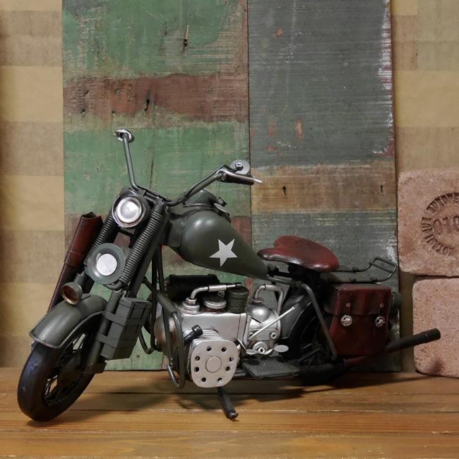 ハーレーアーミーモデルオートバイ ブリキのおもちゃ ブリキ製オートバイ アメリカン雑貨の画像