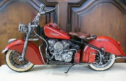 インディアン【レッド】バイク ブリキのおもちゃ ブリキ製オートバイ アメリカン雑貨の画像
