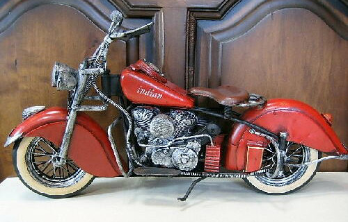 インディアン【レッド】バイク ブリキのおもちゃ ブリキ製オートバイ アメリカン雑貨画像