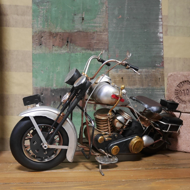 ヴィンテージ オールドバイク【シルバー】 ブリキのおもちゃ ブリキ製オートバイ アメリカン雑貨画像