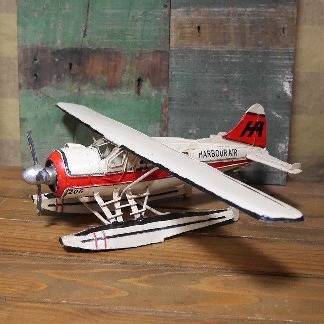 ブリキ製水上飛行機 ブリキのおもちゃ ブリキ製飛行機 アメリカン雑貨の画像