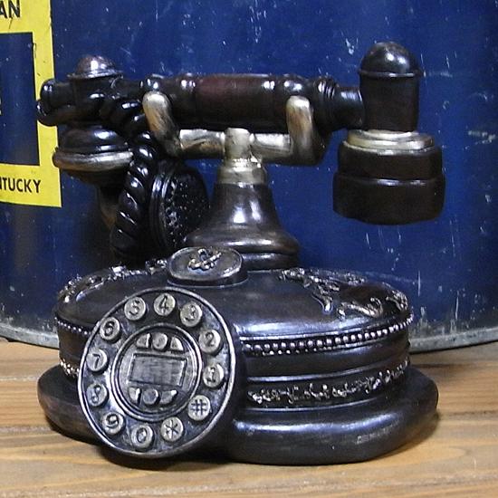 アンティークタイプ電話機バンク 貯金箱 レトロインテリア レトロ雑貨の画像