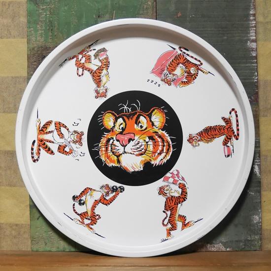 アンティークESSO タイガー ヴィンテージ ティントレイ レトロインテリア アンティーク雑貨の画像