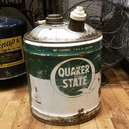 アンティーク QUAKER STATE オールドオイル缶 ガレージインテリア レトロインテリア アメリカン雑貨の画像