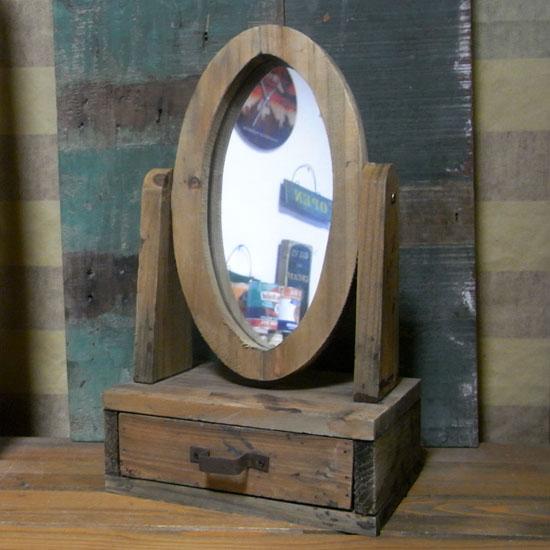 アンティーク 木製 スタンド ミラー 卓上 鏡 レトロインテリア の画像
