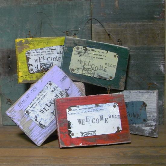 古材リメイク ウエルカムミニボード  木製看板 インテリア雑貨 の画像