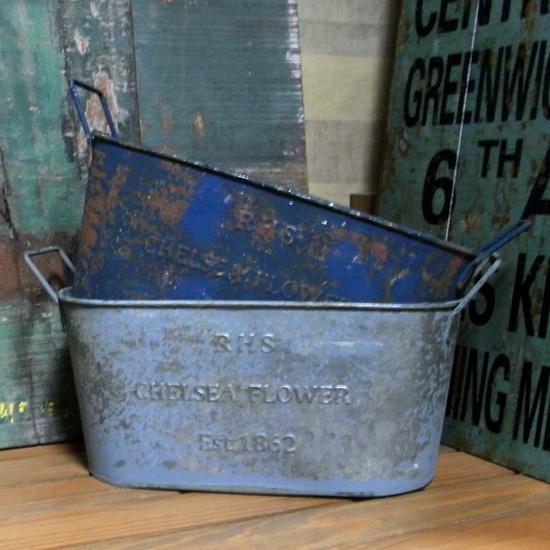 R.T. オーバルポットL ガーデニング グリーンポット ブリキ雑貨 アメリカン雑貨  の画像