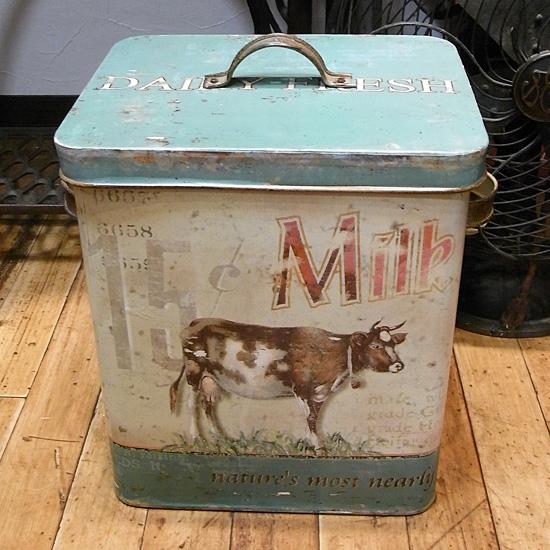 アンティークタイプブリキ缶 ストッカー L MILK ガーデニング雑貨 カントリー雑貨  の画像