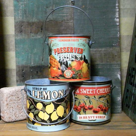 ヴィンテージルック缶 グリーンポット フルーツ ガーデニング雑貨 カントリー雑貨  の画像