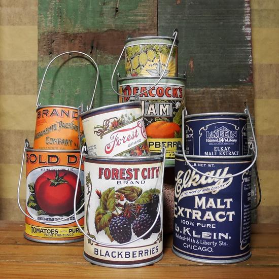 ヴィンテージ リメイク缶 2点セット ガーデニング プランター 鉢 ガーデニング雑貨 カントリー雑貨  の画像