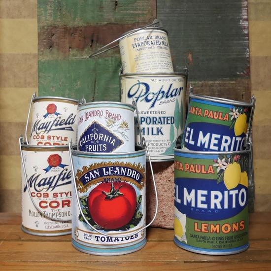 ヴィンテージ リメイク缶 2点セット ガーデニング プランター 鉢 ガーデニング雑貨 カントリー雑貨  画像