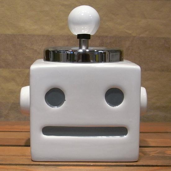 ロボタン灰皿 【ホワイト】 ロボット  卓上灰皿 回転式灰皿 アメリカン雑貨の画像