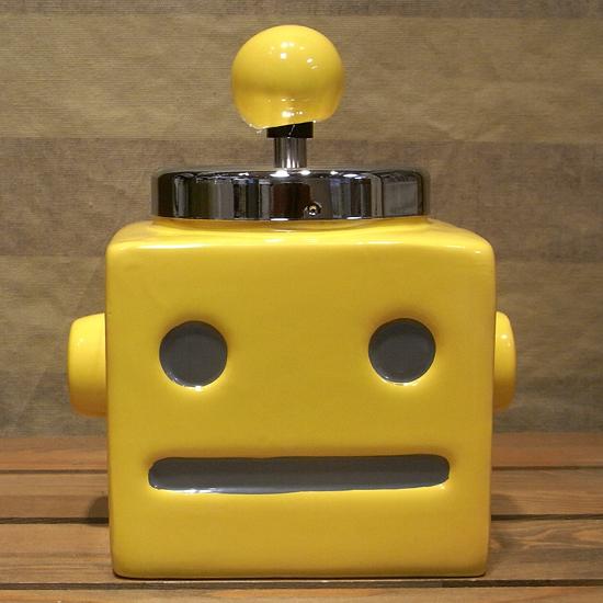 ロボタン灰皿 【イエロー】 ロボット  卓上灰皿 回転式灰皿 アメリカン雑貨画像