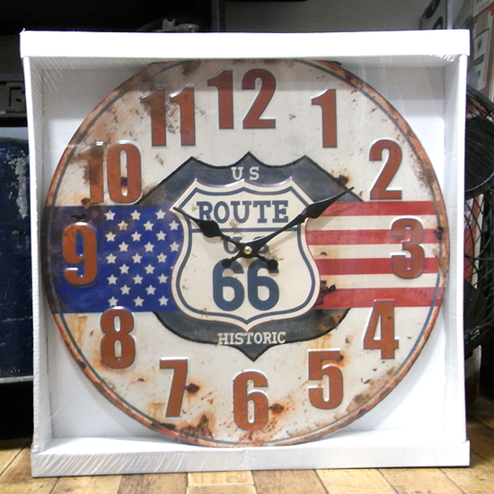 US ルート66 エンボス掛け時計 ブリキ製掛け時計 アメリカンインテリアの画像