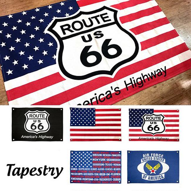 アメリカンフラッグ タペストリー ルート66 アメリカン雑貨画像