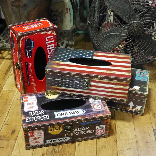 アメリカン ティッシュケース レトロ ティッシュカバー ティッシュボックス アメリカン雑貨画像