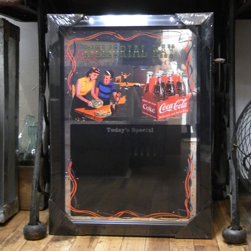 コカコーラ パブミラー メニューボード 鏡 アメリカ雑貨の画像