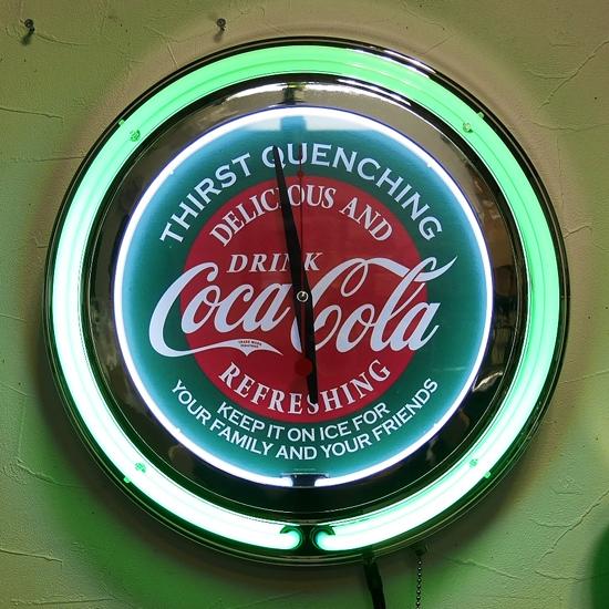 コカコーラ ダブルネオンクロック インテリア 掛け時計 アメリカン雑貨の画像