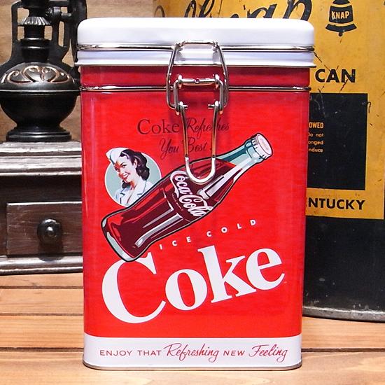 コカコーラ スクエアキャニスター缶 Coke アメリカン雑貨の画像
