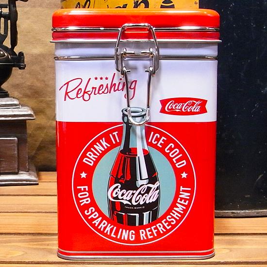 コカコーラ スクエアキャニスター缶 Refreshing アメリカン雑貨の画像
