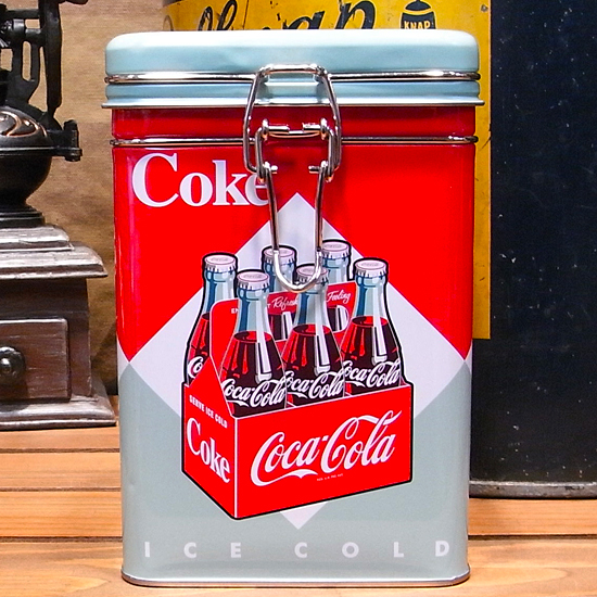 コカコーラ スクエアキャニスター缶 6Bottle アメリカン雑貨の画像