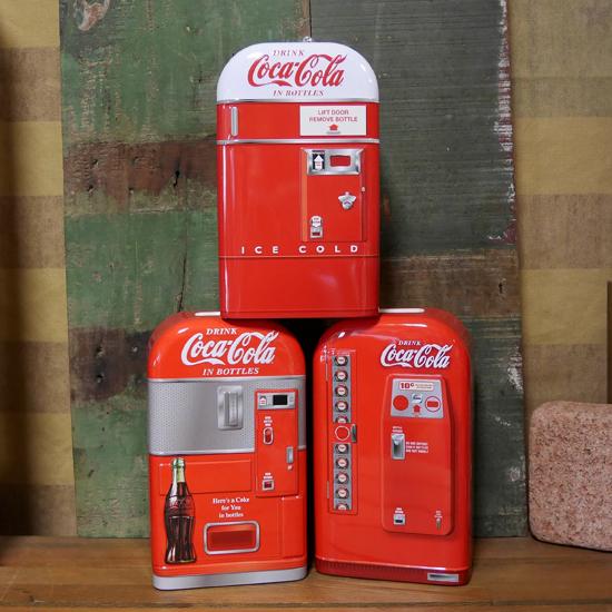 コカコーラ べンディングマシン ブリキ缶 バンク 貯金箱 アメリカン雑貨の画像