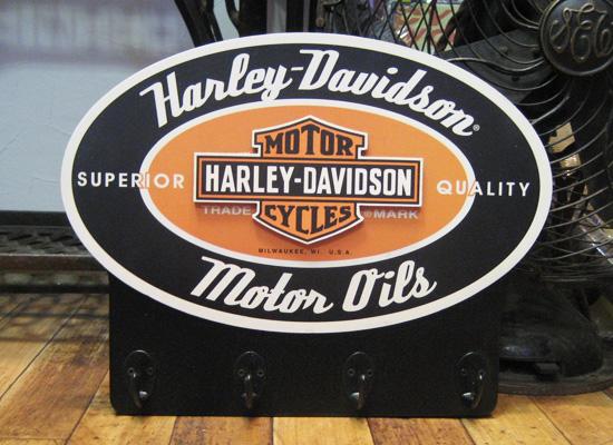 ハーレーダビッドソン 木製 キーラック ウッドフック ボード アメリカ雑貨の画像