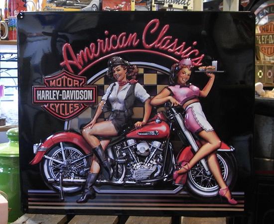 ハーレーダビッドソン エンボスティンプレート ガレージインテリア アメリカ雑貨の画像