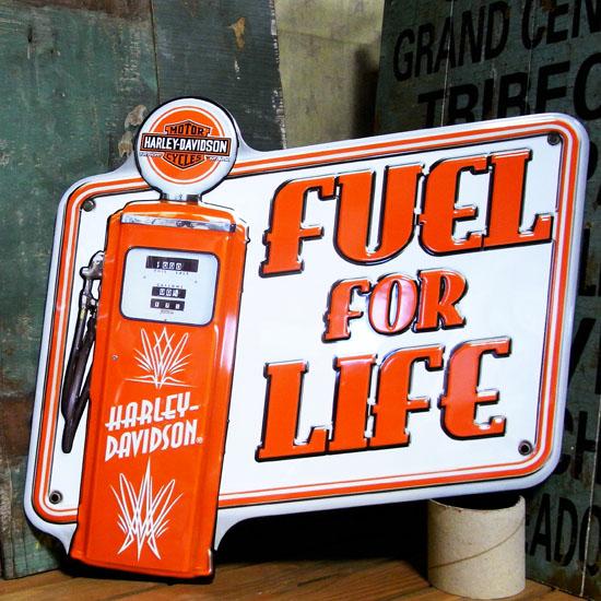 ハーレーダビッドソン FUEL FOR LIFE ダイカット メタルサインプレート アメリカ雑貨の画像