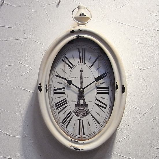 掛け時計 STEEL RIM CLOCK VERTICAL レトロクロック レトロ雑貨の画像
