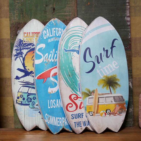 サーフボード ハワイアン インテリア 木製看板 ウォールプレート アメリカンインテリアの画像
