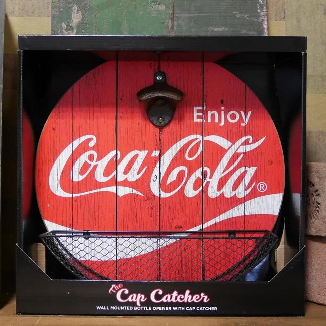 コカコーラ キャッチャー付き ウッディー ボトル オープナー ENJOY COCA-COLA アメリカンインテリア画像