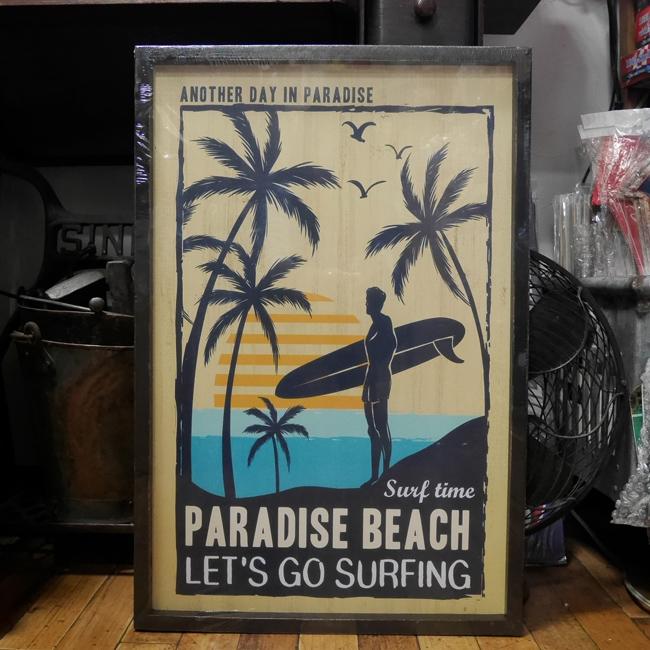 ハワイアンウッドボード インテリア 木製看板  サーフィング インテリア額 アメリカンインテリア画像