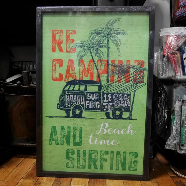 ワーゲンバス インテリア 木製看板 ウッドボード ハワイアン サーフィング アメリカンインテリア画像