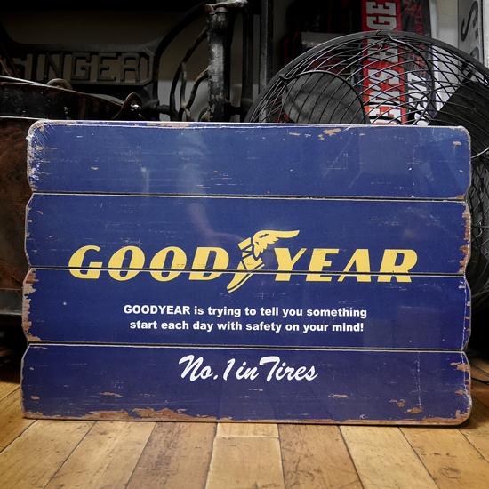 GOODYEAR ヴィンテージサインボード グッドイヤー インテリア 木製看板の画像
