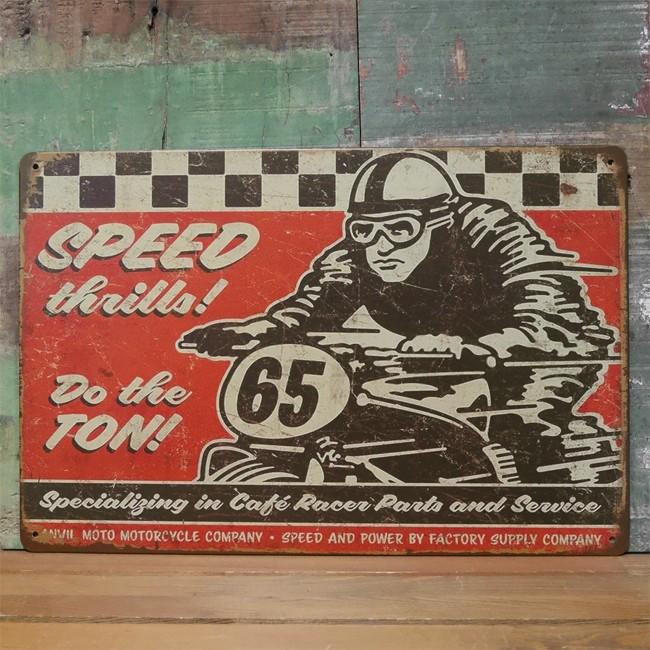 アンティークメタルプレート SPEED 65 ブリキ看板 バイク インテリア アメリカン雑貨の画像